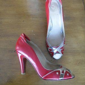 Modern Vintage Zorba Red Silver Heels Italy 36 6